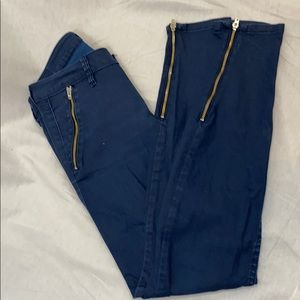 Guess trouser cut skinny leg jeans, gold zippers